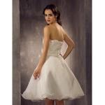 A-line/Princess Plus Sizes Wedding Dress - Ivory Knee-length Scalloped-Edge Organza/Lace Wedding Dresses