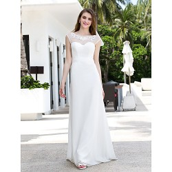 A-line Plus Sizes Wedding Dress - Ivory Sweep/Brush Train Scoop Chiffon/Tulle