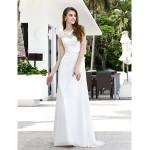 A-line Plus Sizes Wedding Dress - Ivory Sweep/Brush Train Scoop Chiffon/Tulle Wedding Dresses