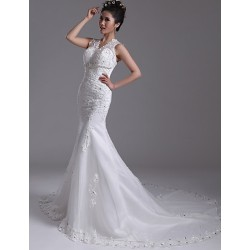 Trumpet Mermaid Court Train Wedding Dress V Neck Organza