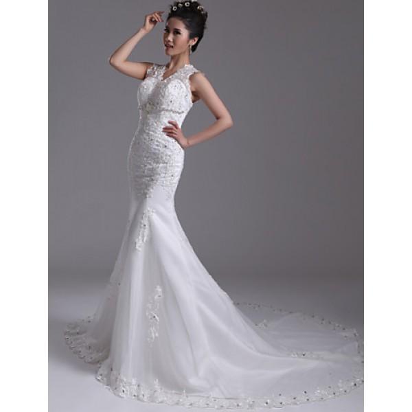 Trumpet/Mermaid Court Train Wedding Dress -V-neck Organza Wedding Dresses