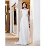 A-line Plus Sizes Wedding Dress - Ivory Sweep/Brush Train Square Satin/Georgette Wedding Dresses