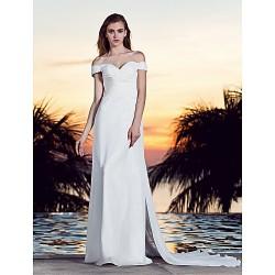 A-line Plus Sizes Wedding Dress - Ivory Court Train Off-the-shoulder Georgette