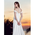 A-line Plus Sizes Wedding Dress - Ivory Court Train Off-the-shoulder Georgette Wedding Dresses