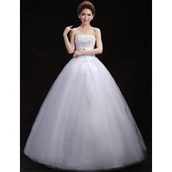 Ball Gown Wedding Dress - White Floor-length Strapless Tulle