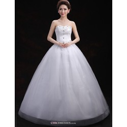 Ball Gown Wedding Dress White Floor Length Sweetheart Tulle