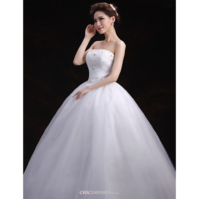 Ball Gown Wedding Dresses Uk: White Floor-length Strapless