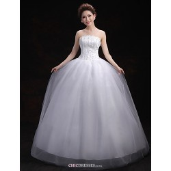Ball Gown Wedding Dress White Floor Length Scalloped Edge Tulle