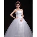 Ball Gown Wedding Dress - White Floor-length Strapless Tulle Wedding Dresses