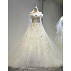 A-line Wedding Dress - Ivory Court Train Off-the-shoulder Tulle