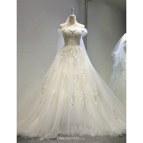A-line Wedding Dress - Ivory Court Train Off-the-shoulder Tulle Wedding Dresses