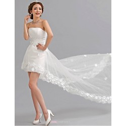 A Line Asymmetrical Wedding Dress Strapless Tulle