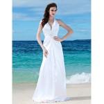 Sheath/Column Plus Sizes Wedding Dress - White Floor-length V-neck Charmeuse Wedding Dresses