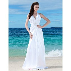 Sheath/Column Plus Sizes Wedding Dress - White Floor-length V-neck Charmeuse