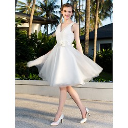 A Line Princess Plus Sizes Wedding Dress Ivory Knee Length V Neck Satin