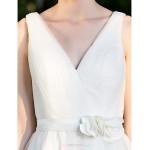 A-line/Princess Plus Sizes Wedding Dress - Ivory Knee-length V-neck Satin Wedding Dresses
