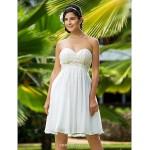 A-line/Princess Plus Sizes Wedding Dress - Ivory Knee-length Sweetheart Chiffon Wedding Dresses