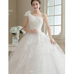 Ball Gown Floor-length Wedding Dress -One Shoulder Tulle Wedding Dresses
