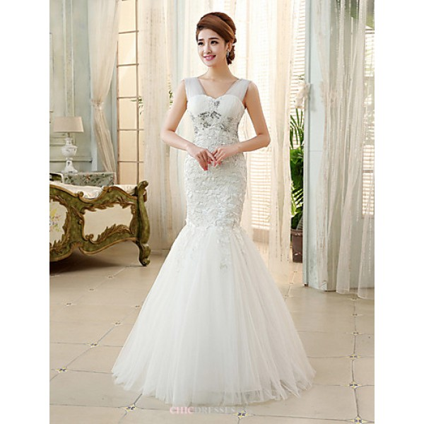 Princess Ball Gown Wedding Dress Ivory Floor Length Straps Tulle