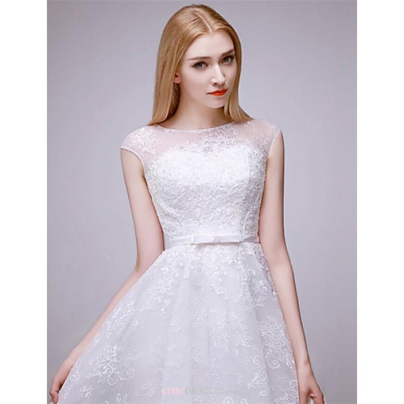 A line short mini wedding dress bateau lace cheap uk A line lace wedding dress uk