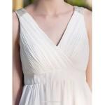 A-line/Princess Plus Sizes Wedding Dress - Ivory Short/Mini V-neck Chiffon Wedding Dresses
