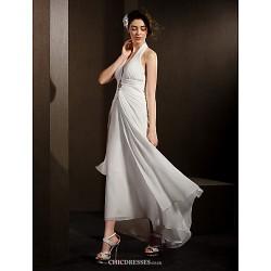 Sheath/Column Wedding Dress - Ivory Asymmetrical Halter Chiffon