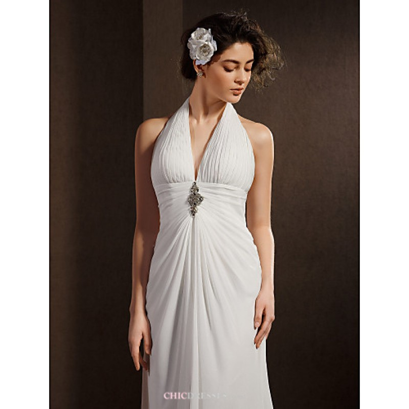 Sheath Column Wedding Dress Ivory Asymmetrical Halter