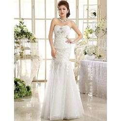A-line Ankle-length Wedding Dress -Strapless Lace
