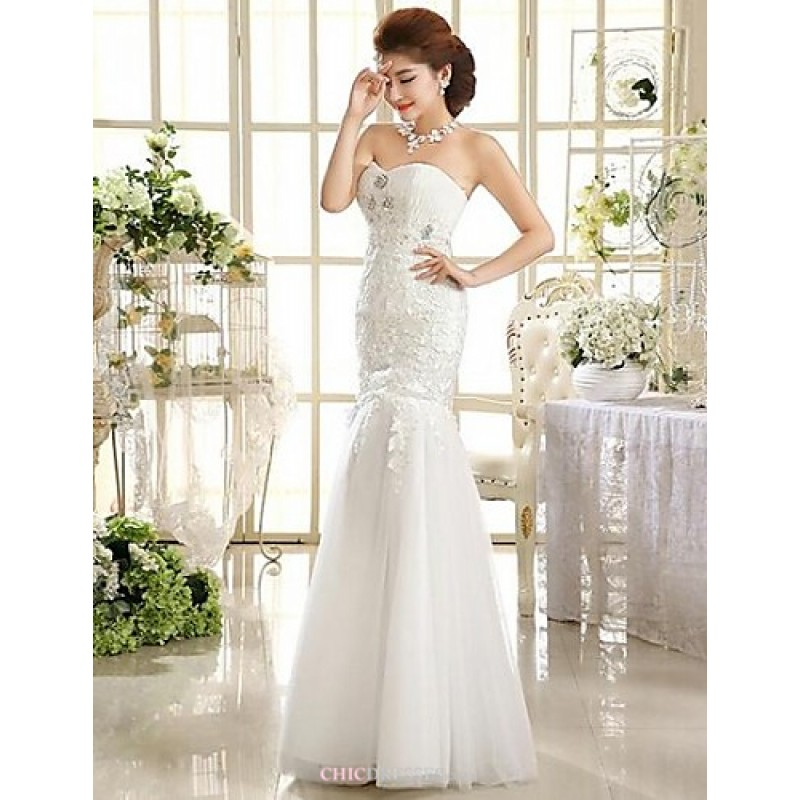 Wedding Gowns Online Uk: A-line Ankle-length Wedding Dress -Strapless Lace,Cheap Uk