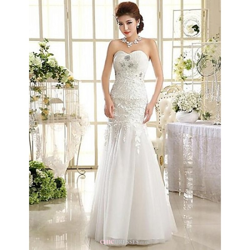 A-line Ankle-length Wedding Dress -Strapless Lace,Cheap Uk