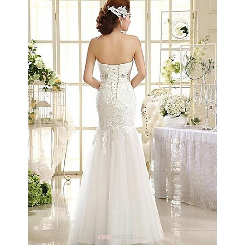 A line ankle length wedding dress strapless lace cheap uk for Lace ankle length wedding dress