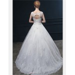 Ball Gown Wedding Dress - Ivory Sweep/Brush Train Jewel Lace / Tulle Wedding Dresses