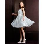 A-line/Princess Wedding Dress - Ivory Knee-length Bateau Tulle Wedding Dresses