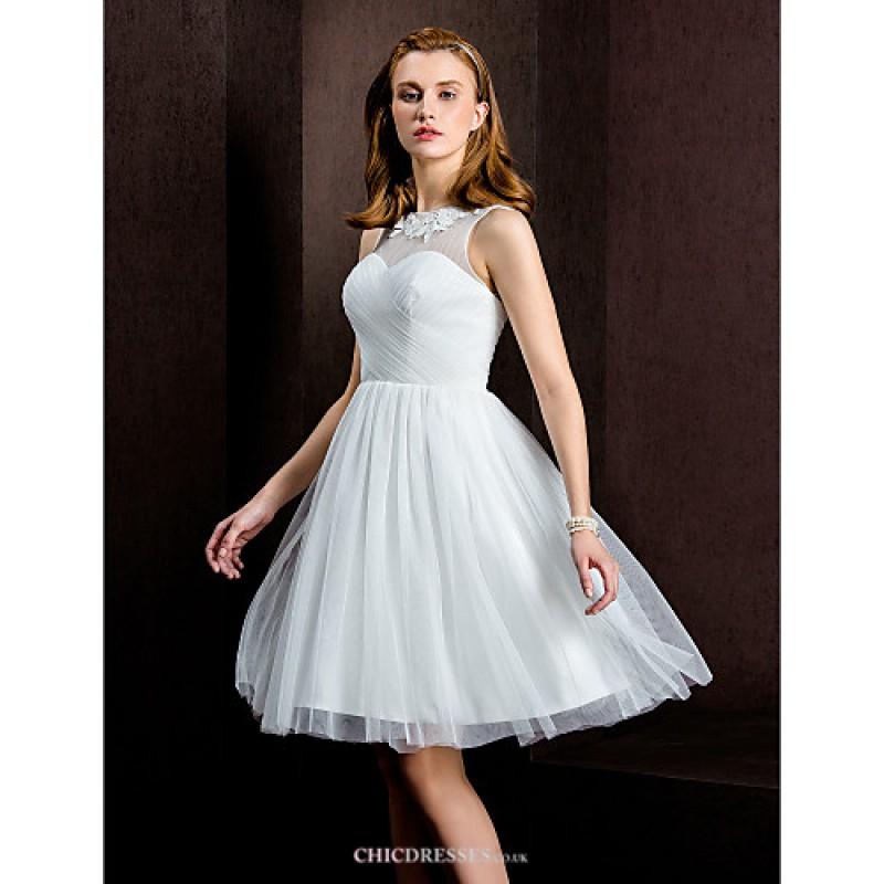 22f7bba5dd ... A-line Princess Wedding Dress - Ivory Knee-length Bateau Tulle Wedding  Dresses ...