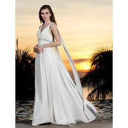 A-line Plus Sizes Wedding Dress - Ivory Sweep/Brush Train Halter Georgette