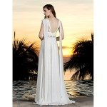 A-line Plus Sizes Wedding Dress - Ivory Sweep/Brush Train Halter Georgette Wedding Dresses