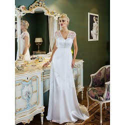 Sheath/Column Plus Sizes Wedding Dress - Ivory Sweep/Brush Train Sweetheart Tulle/Stretch Satin