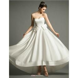 A Line Asymmetrical Wedding Dress Sweetheart Satin