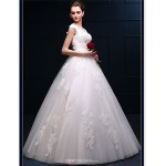 A-line Floor-length Wedding Dress -Bateau Tulle Wedding Dresses