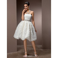 A Line Princess Plus Sizes Wedding Dress Ivory Knee Length Strapless Lace