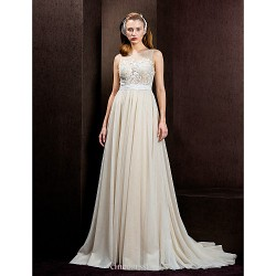 A Line Princess Wedding Dress Champagne Court Train Jewel Tulle