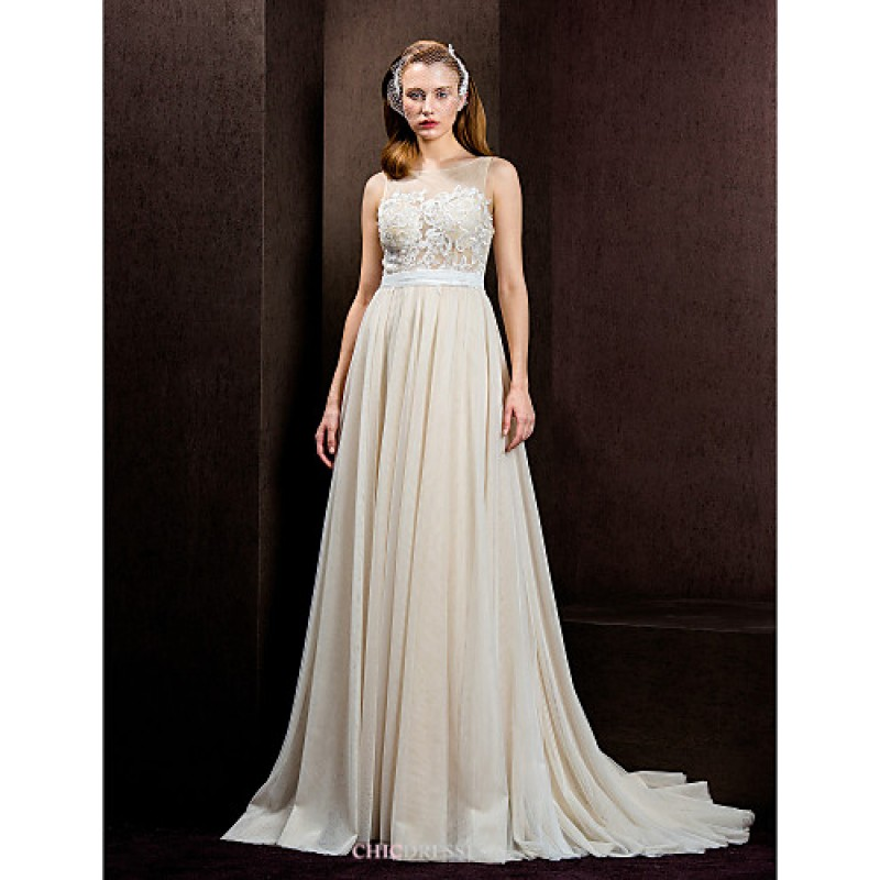 Champagne Wedding Dresses A Line : A line princess wedding dress champagne court train