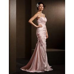 Trumpet/Mermaid Wedding Dress - Blushing Pink Court Train Sweetheart Taffeta