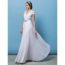 A Line Wedding Dress White Floor Length V Neck Chiffon