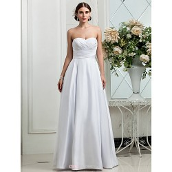 A Line Princess Plus Sizes Wedding Dress White Floor Length Sweetheart Satin