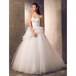 A-line/Princess Plus Sizes Wedding Dress - Ivory Sweep/Brush Train Sweetheart Tulle