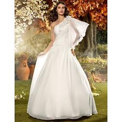 A-line Plus Sizes Wedding Dress - Ivory Floor-length One Shoulder Chiffon