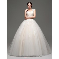 Princess Floor Length Wedding Dress Straps Tulle