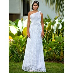 Sheath Column Plus Sizes Wedding Dress White Floor Length One Shoulder Lace