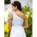 Sheath/Column Plus Sizes Wedding Dress - White Floor-length One Shoulder Lace Wedding Dresses